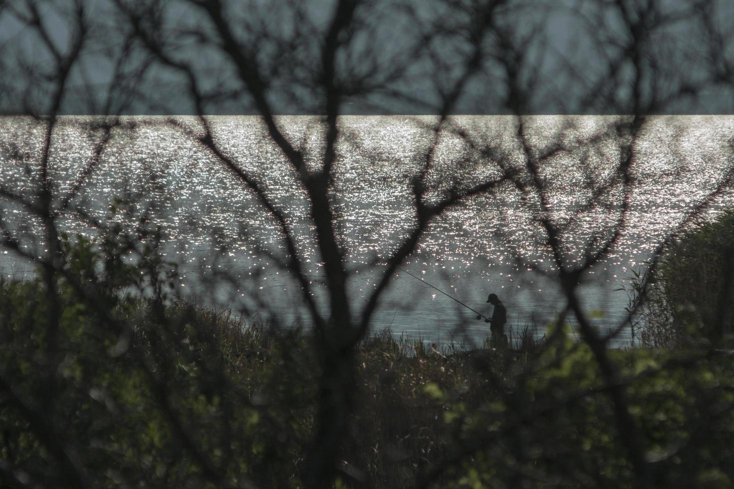 un pescador en la orilla con una caña de pescar está pescando foto