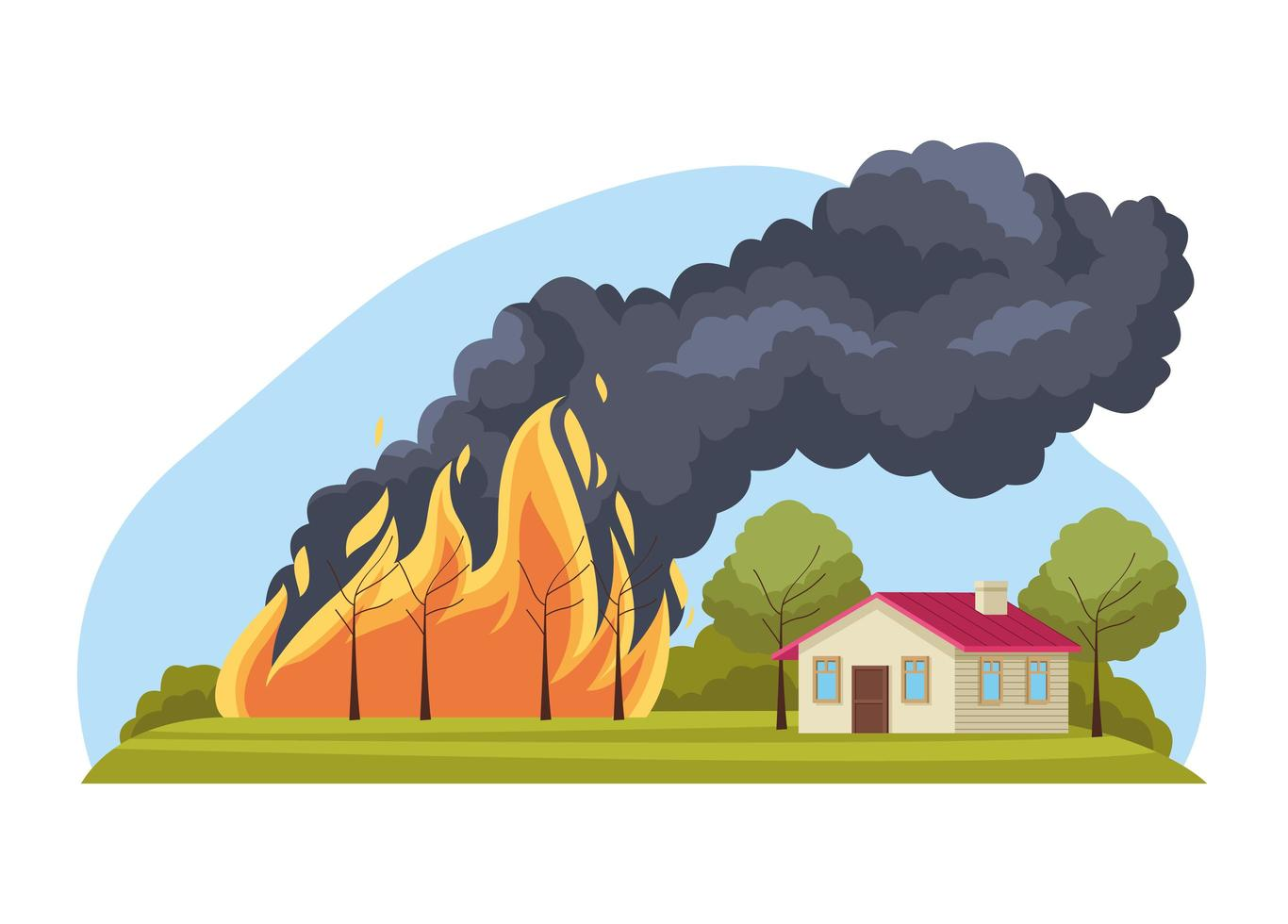 forest fire scene vector