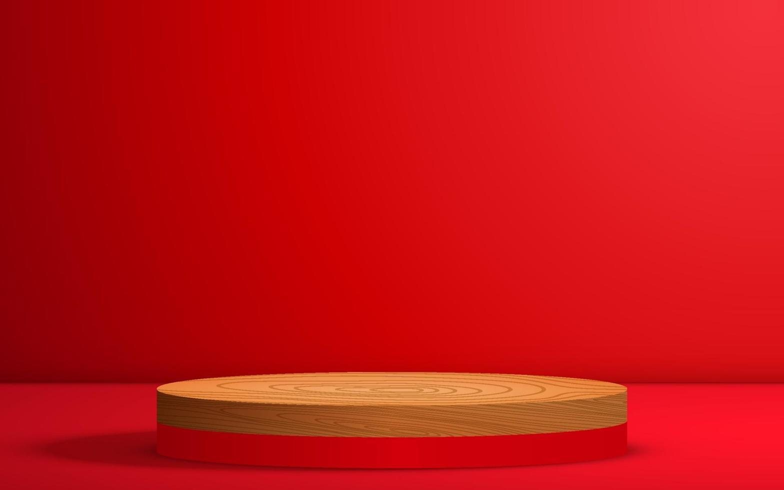 wood podium on the red podium in the red room vector