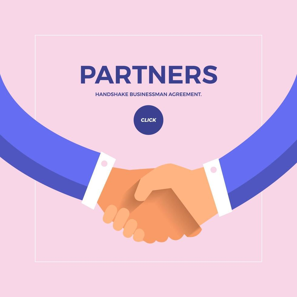 Flat design concept check hands to partner business. Vector illustrate.