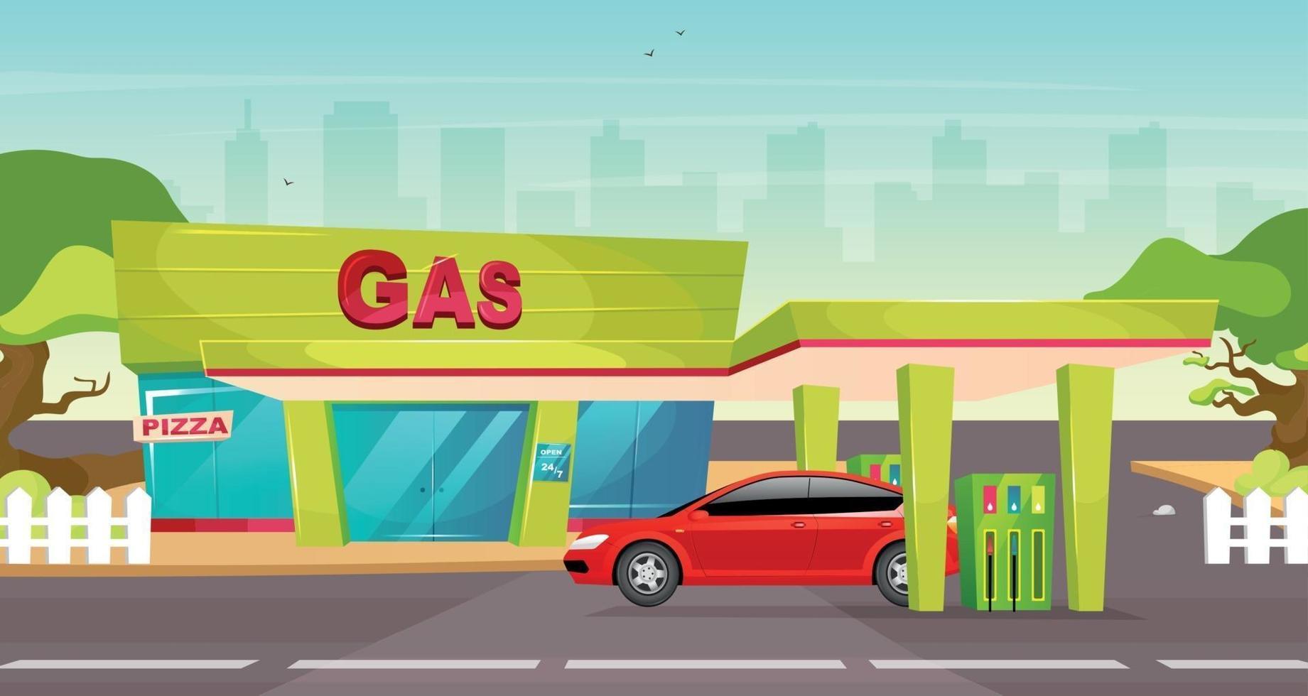 Gas station flat color vector illustration