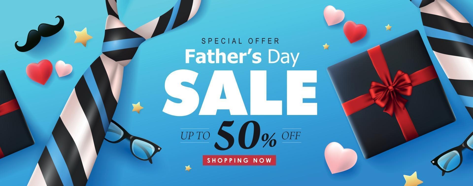 plantilla de fondo de banner de venta de feliz día del padre vector