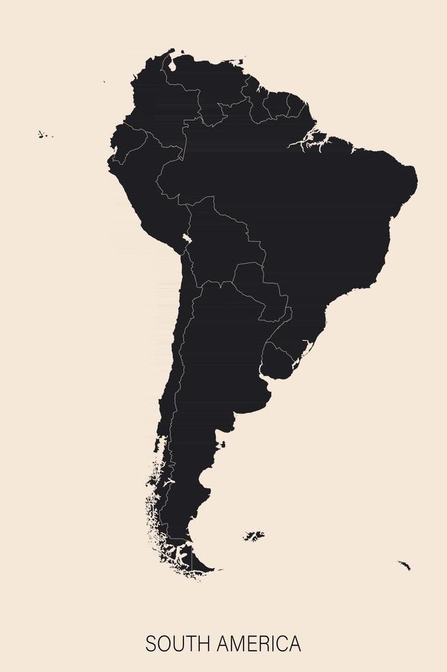The political detailed map of the continent of South America with borders vector