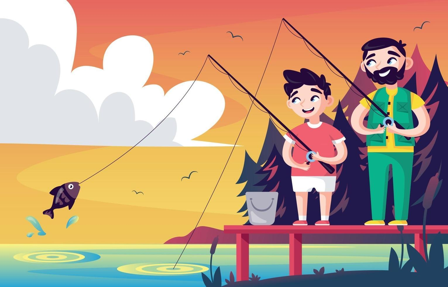 Father and Son Enjoying a Summer Fishing Day vector