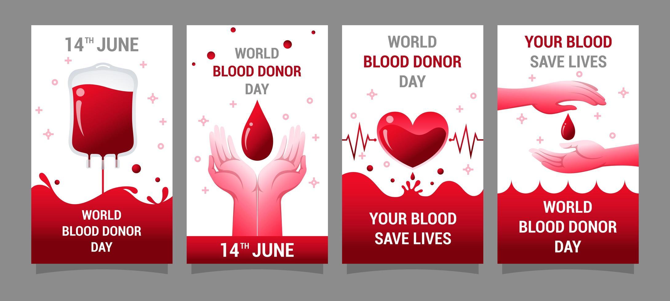 conjunto de diseño de tarjeta de campaña del día del donante de sangre vector