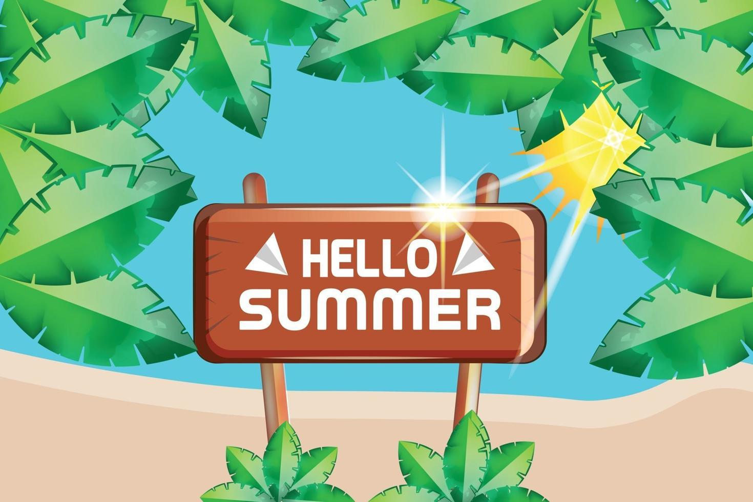 hello summer leafs nature and sunshine background vector