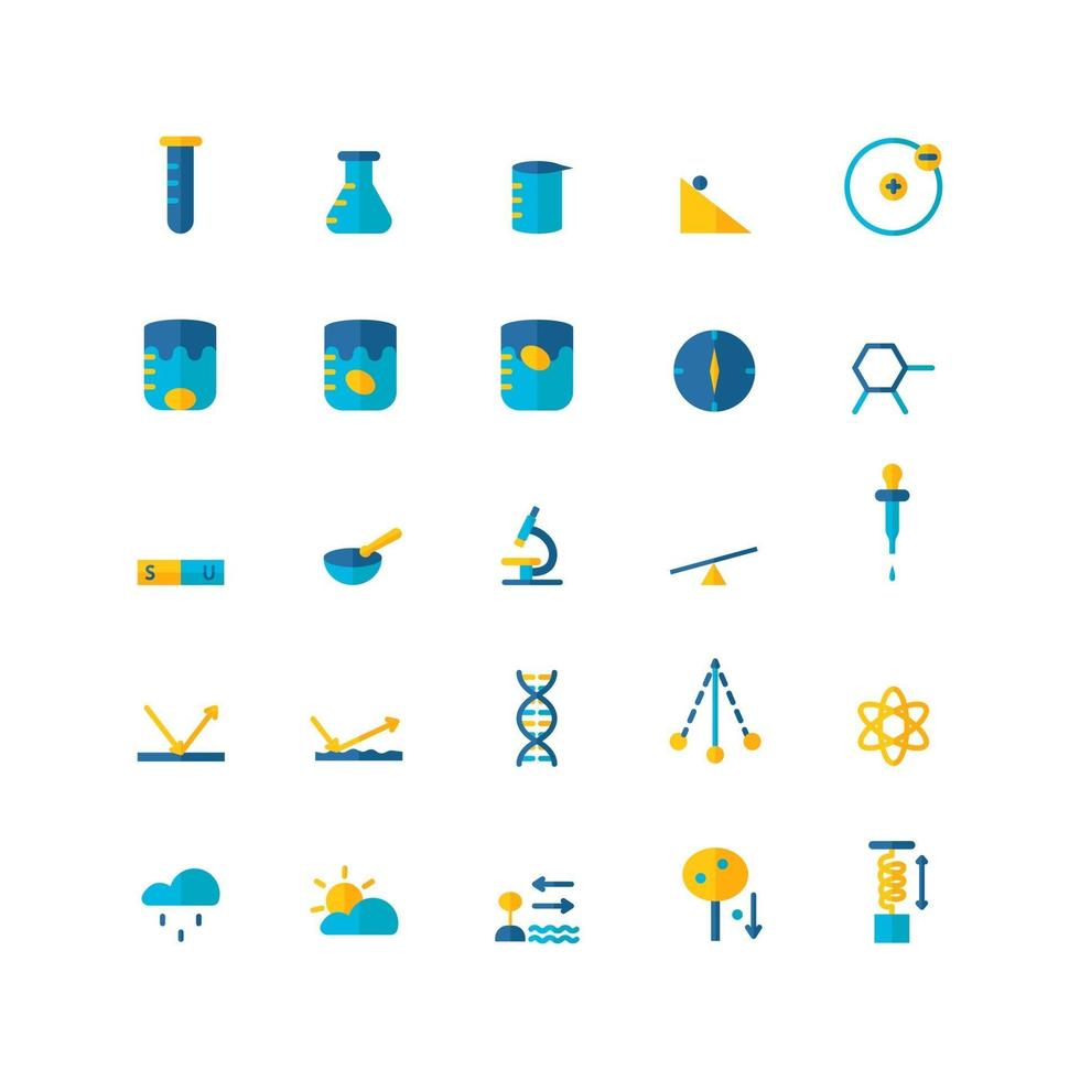 Science icon set vector flat for website mobile app presentation social media Suitable for user interface and user experience