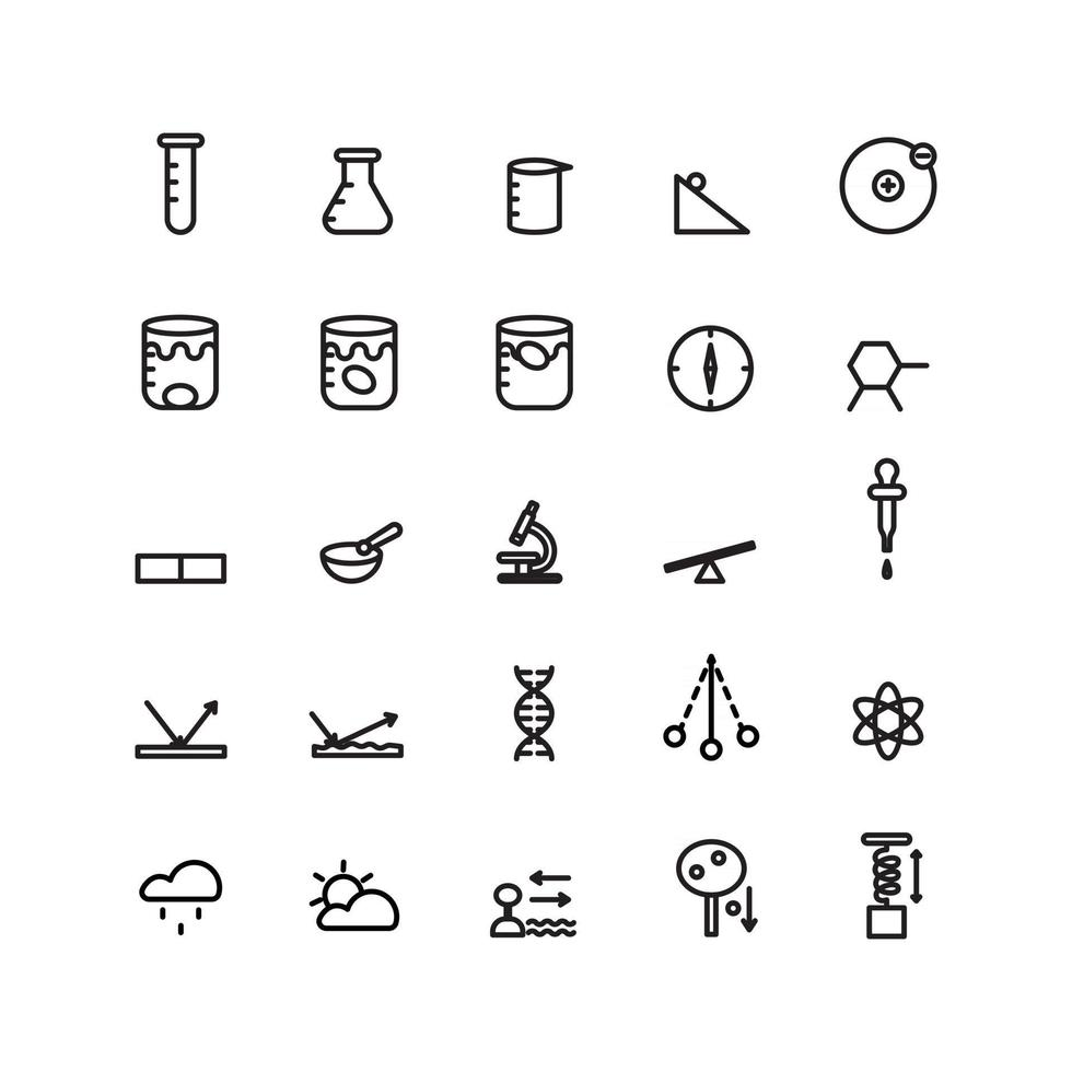 Science icon set vector line for website mobile app presentation social media Suitable for user interface and user experience