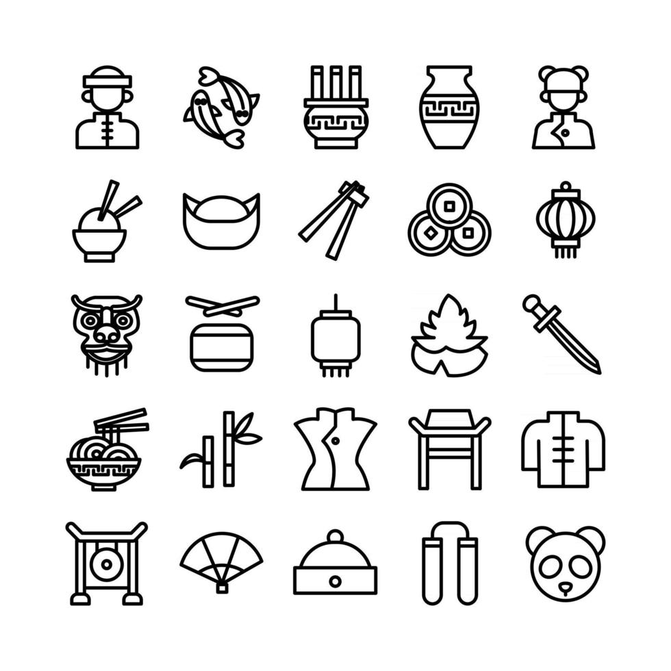 Chinese icon set vector line for website mobile app presentation social media Suitable for user interface and user experience