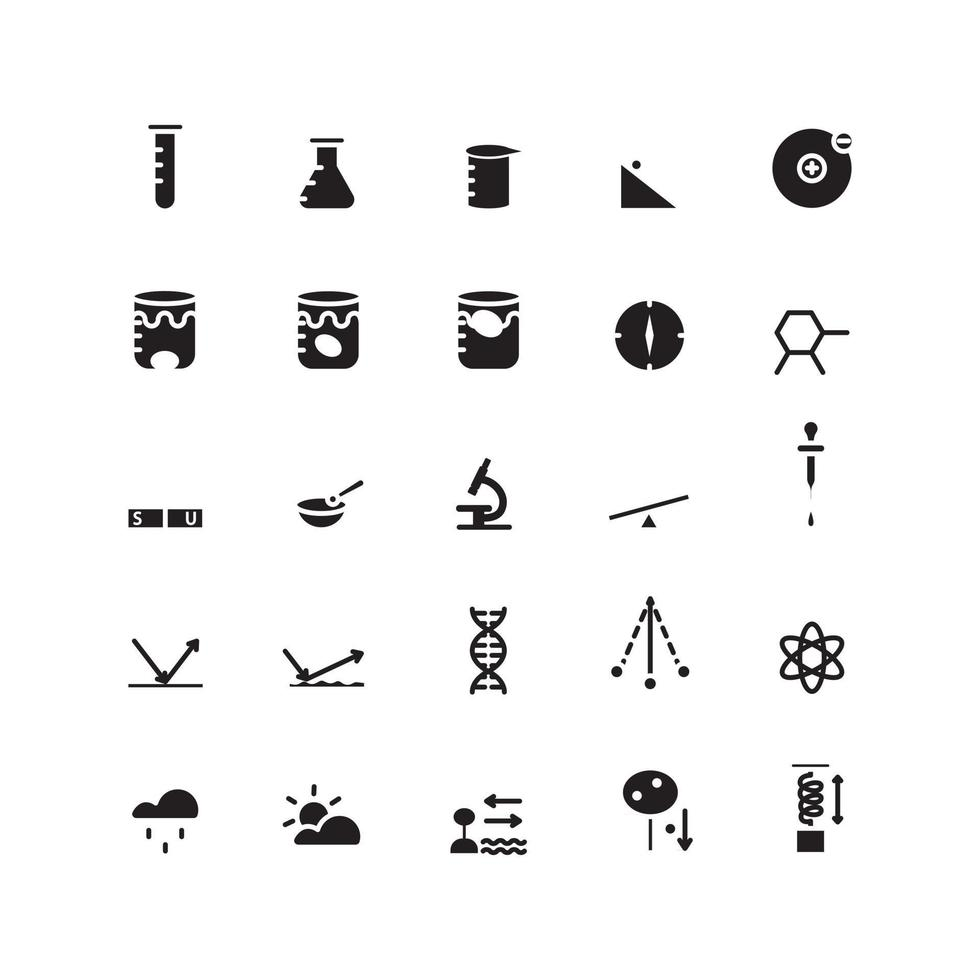 Science icon set vector solid for website mobile app presentation social media Suitable for user interface and user experience