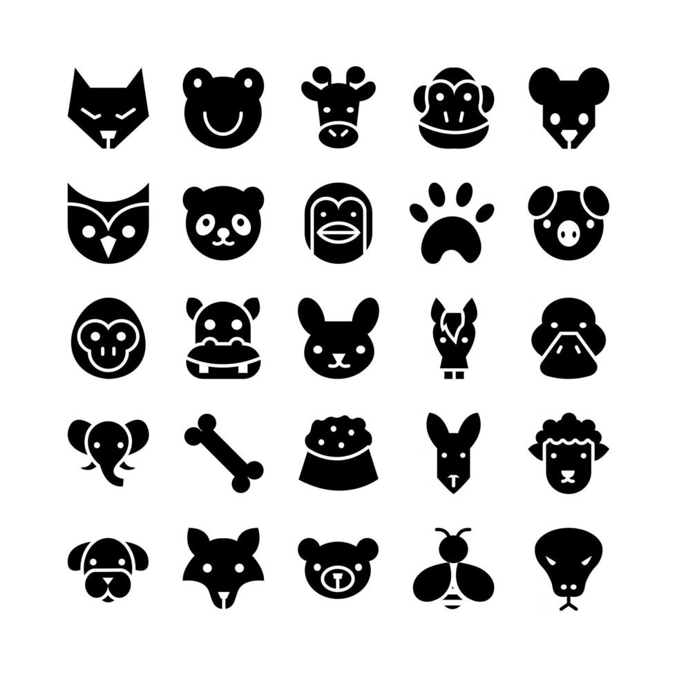 Animal icon set vector solid for website mobile app presentation social media Suitable for user interface and user experience
