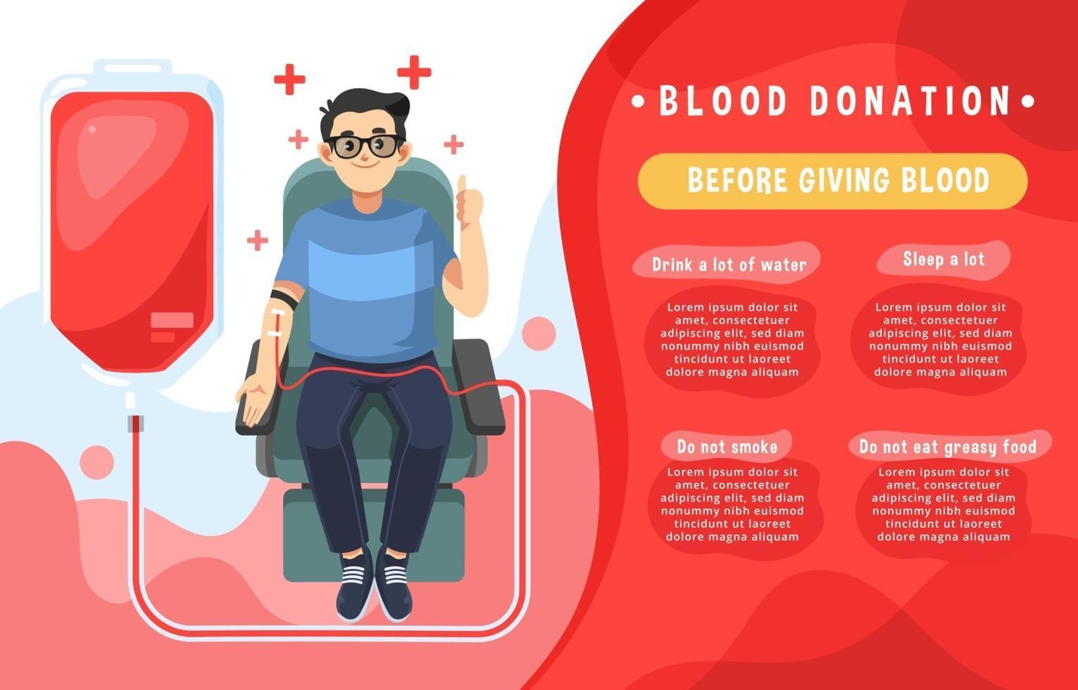 infografía simple de donación de sangre vector