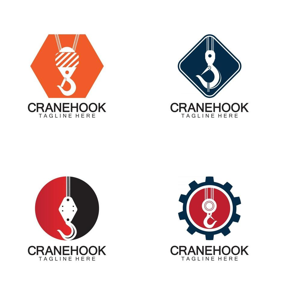 Crane hook logo icon vector illustration design  template