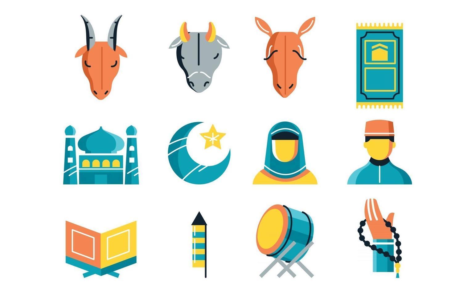 Set of Colorful Icons Eid El Adha vector