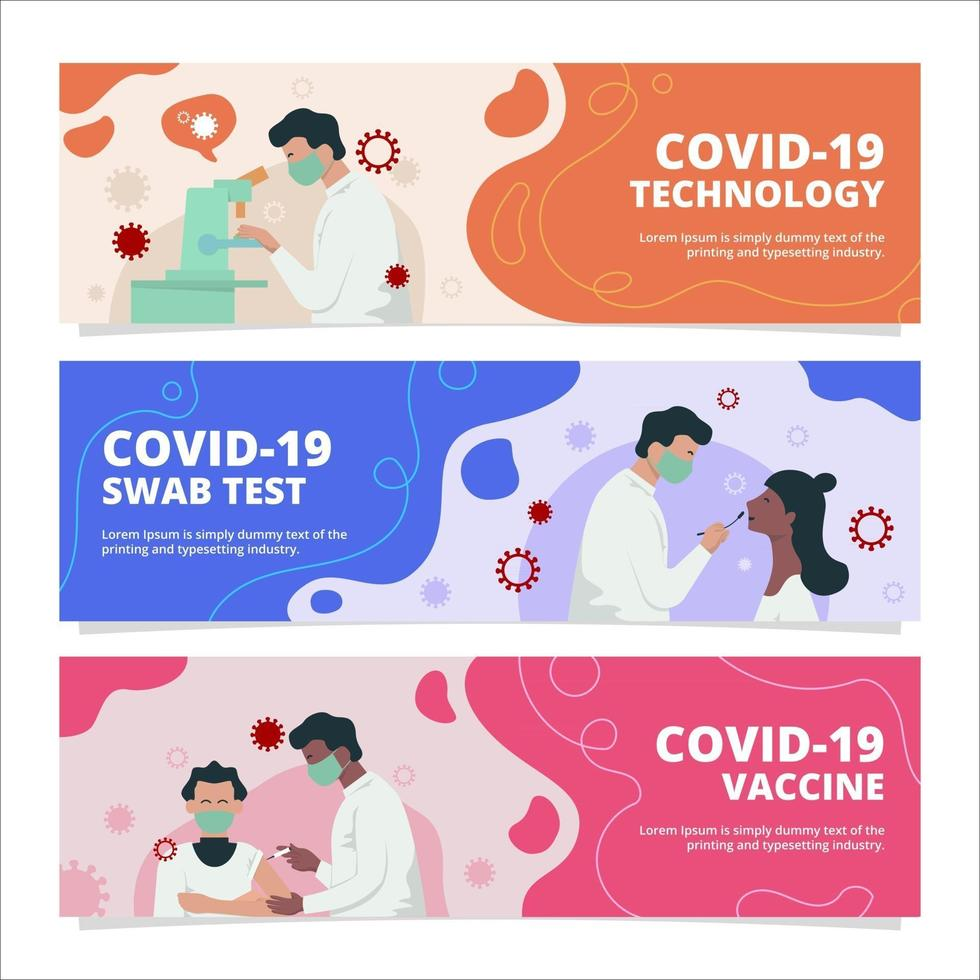 Set of COVID-19 vaccine Banners vector