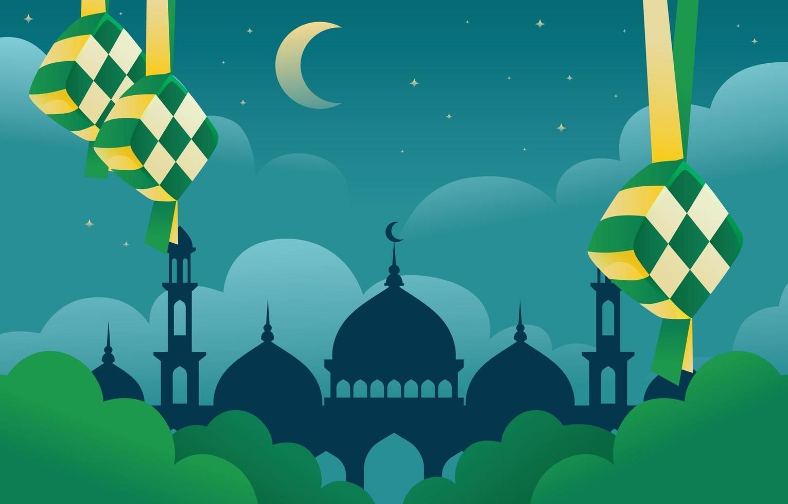 Eid Mubarok Background With Ketupat vector