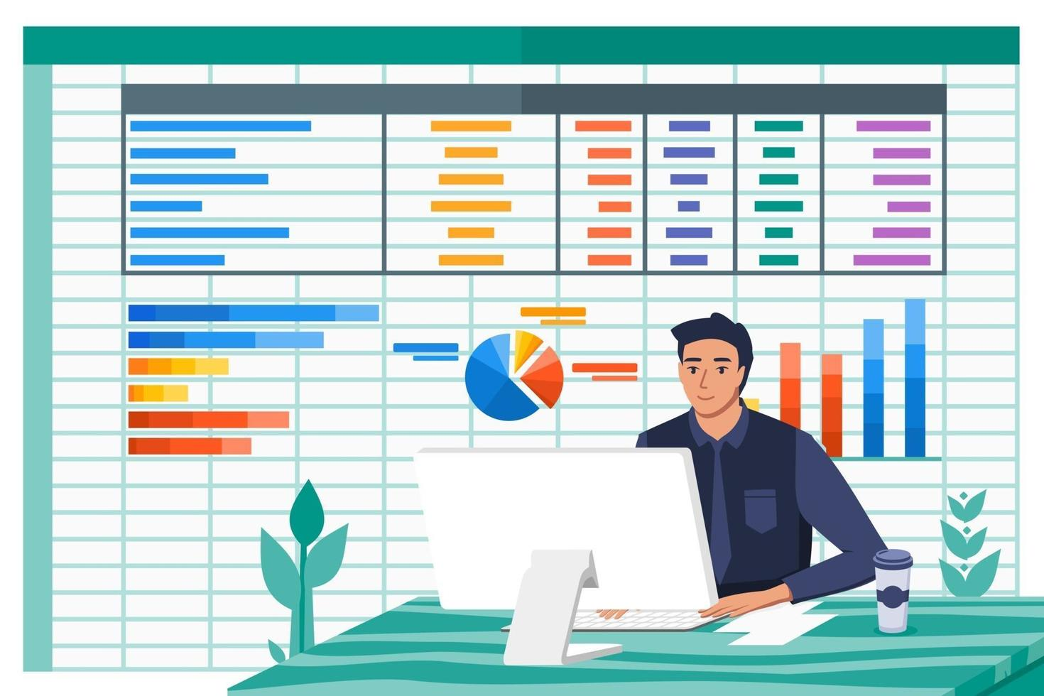 Accountant Man Work with Spreadsheet Paperwork Program vector