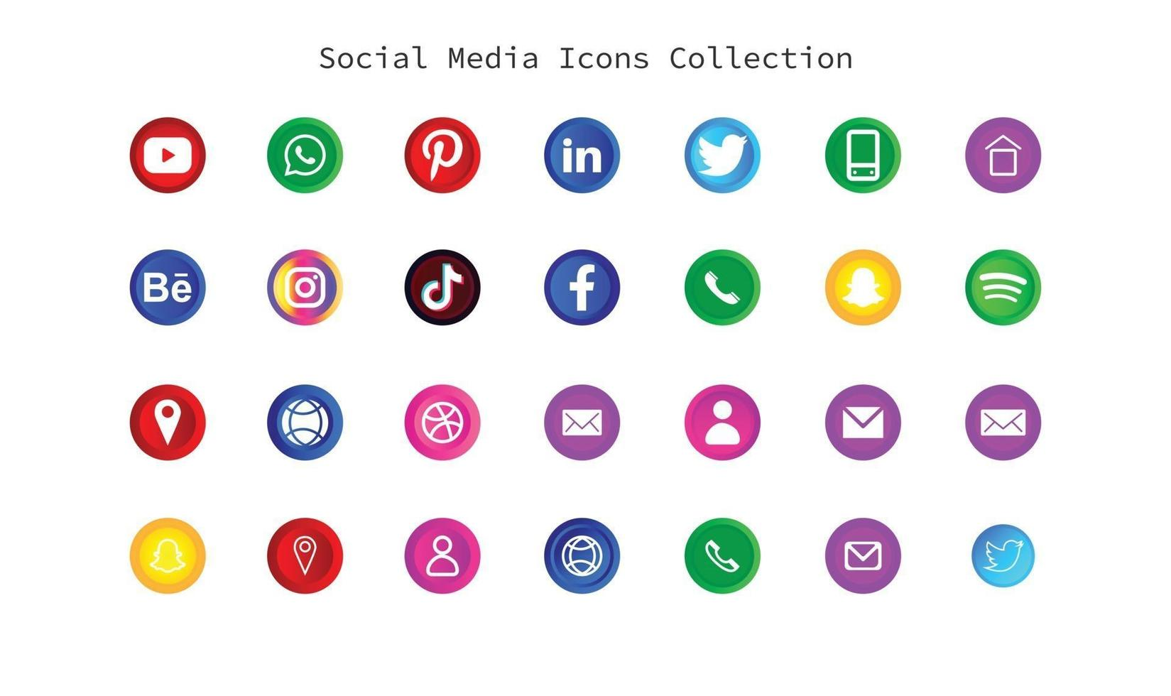 social media logos and icons 3d type vector