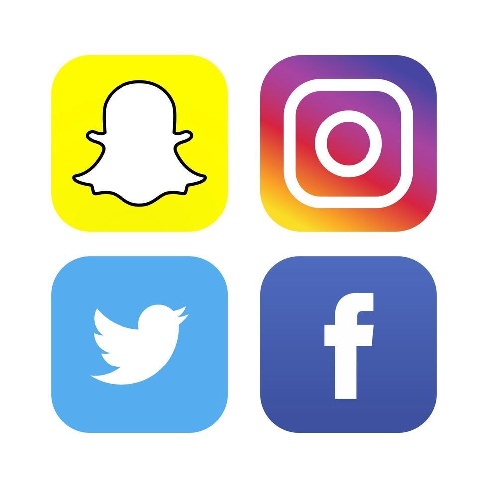Social Media icons and Logos set Instagram Facebook Snapchat Twitter vector
