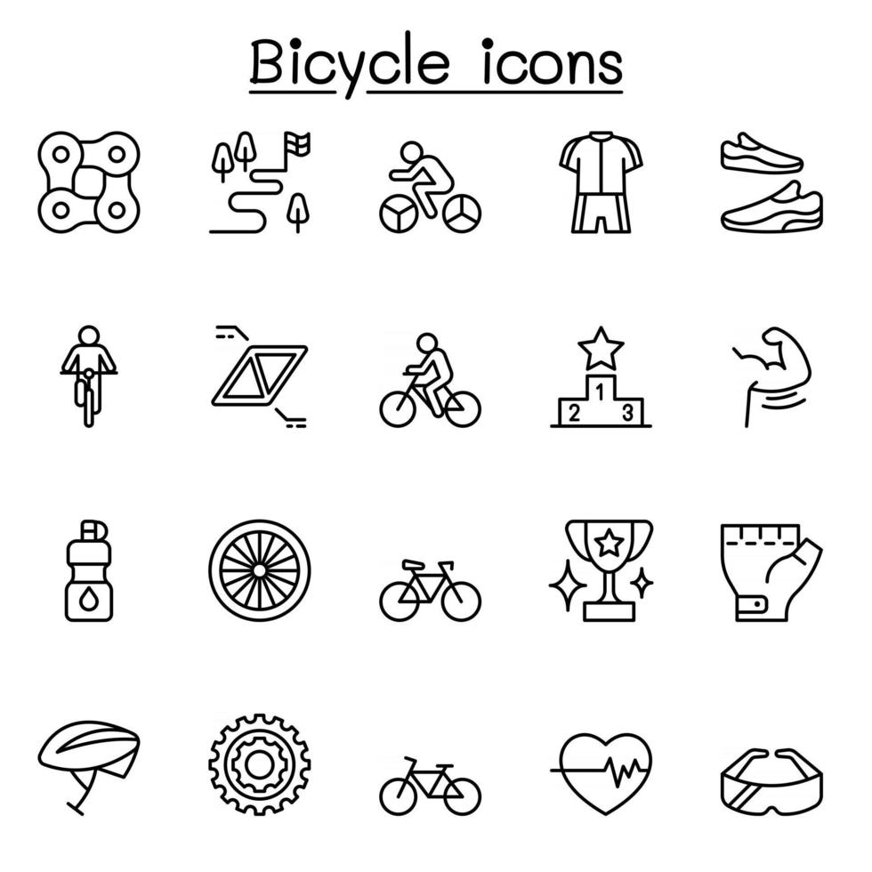 Bicycle icon set in thin line style vector
