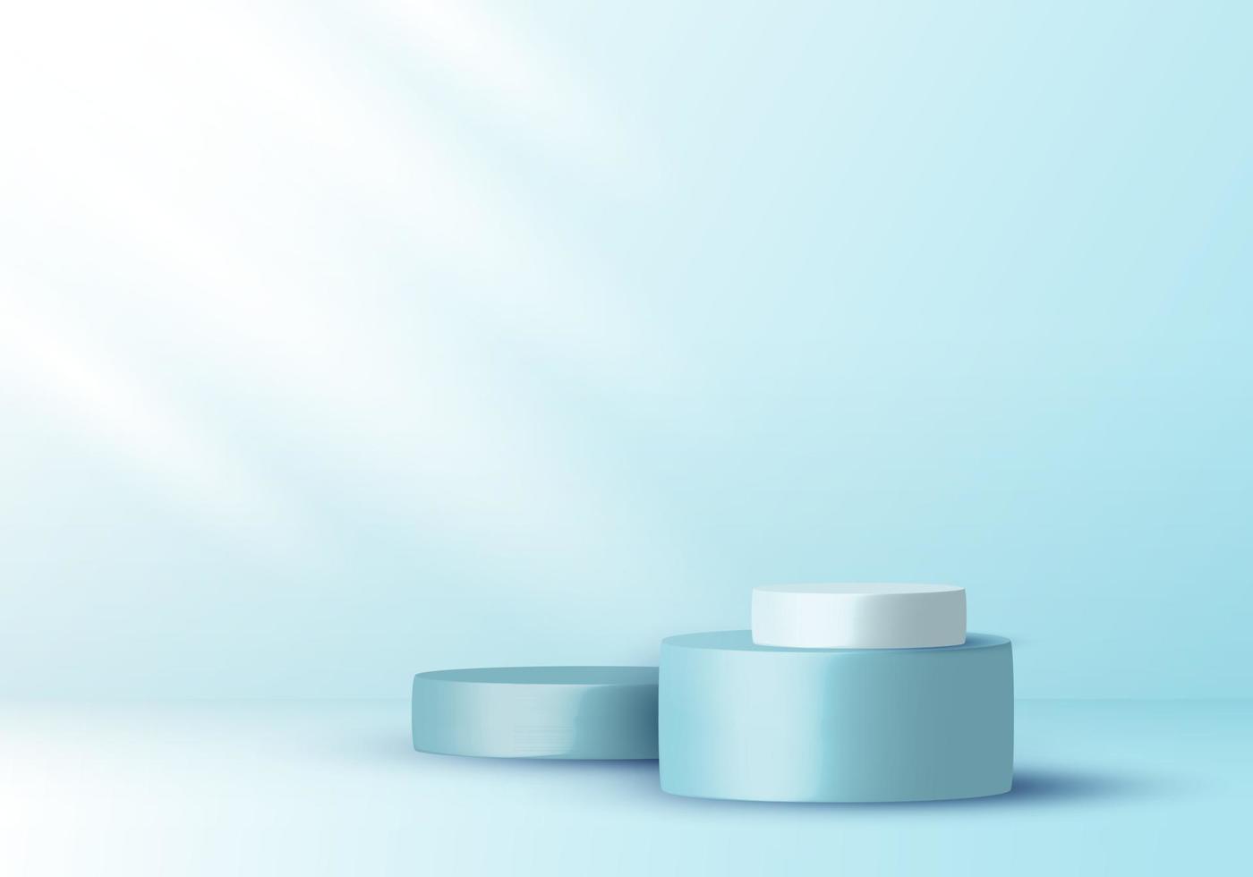 3D realistic elegant display blue and white cylinder pedestal podium on soft blue color studio room background vector