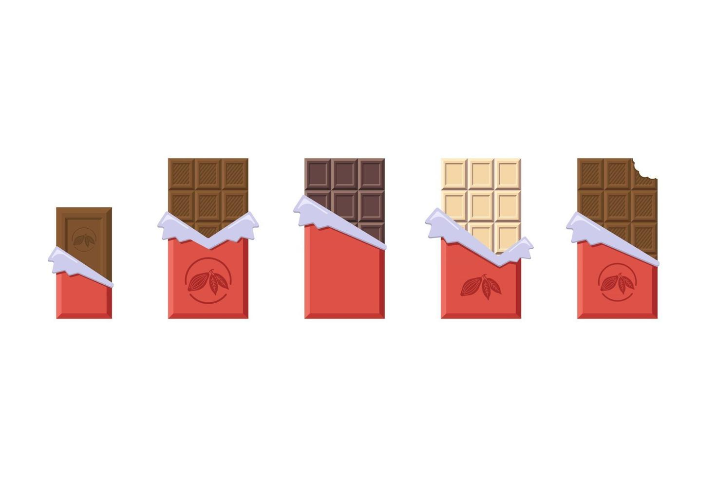 Milk and Dark and White Chocolate Bars in Opened Red Wrapper and Foil Collection vector