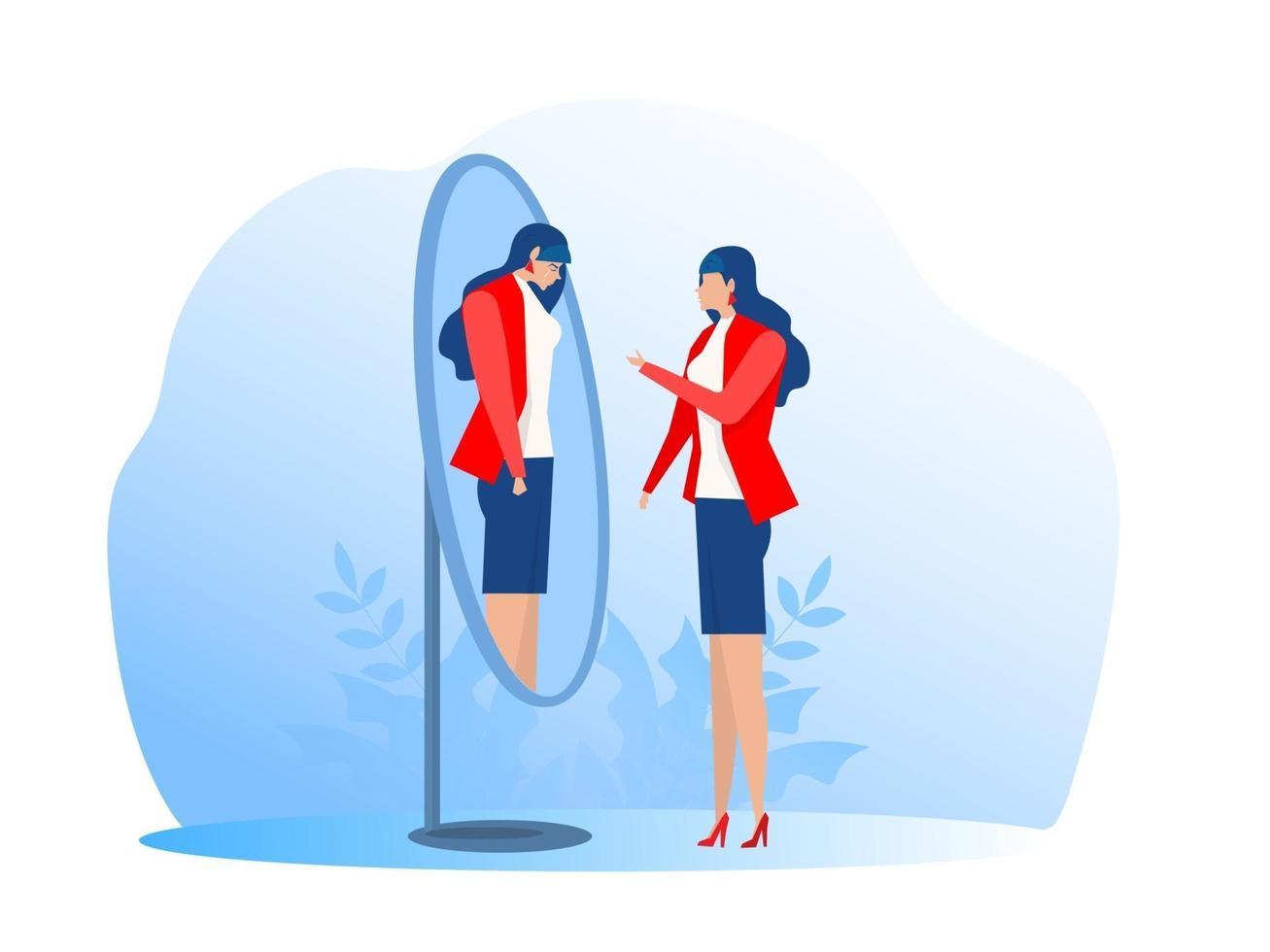 síndrome del impostor expresiones felices o tristes. trastorno bipolar caras falsas y emociones. psicología comportamiento falso o engañador ilustrador vectorial vector