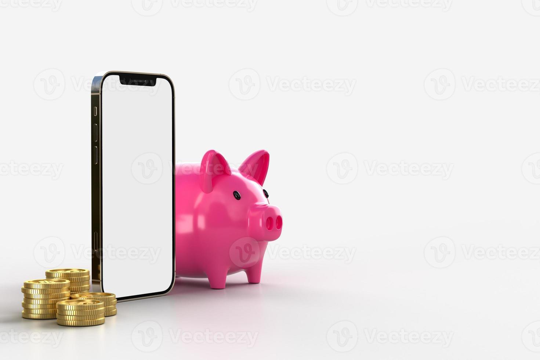teléfono inteligente y moneda de oro con hucha rosa foto