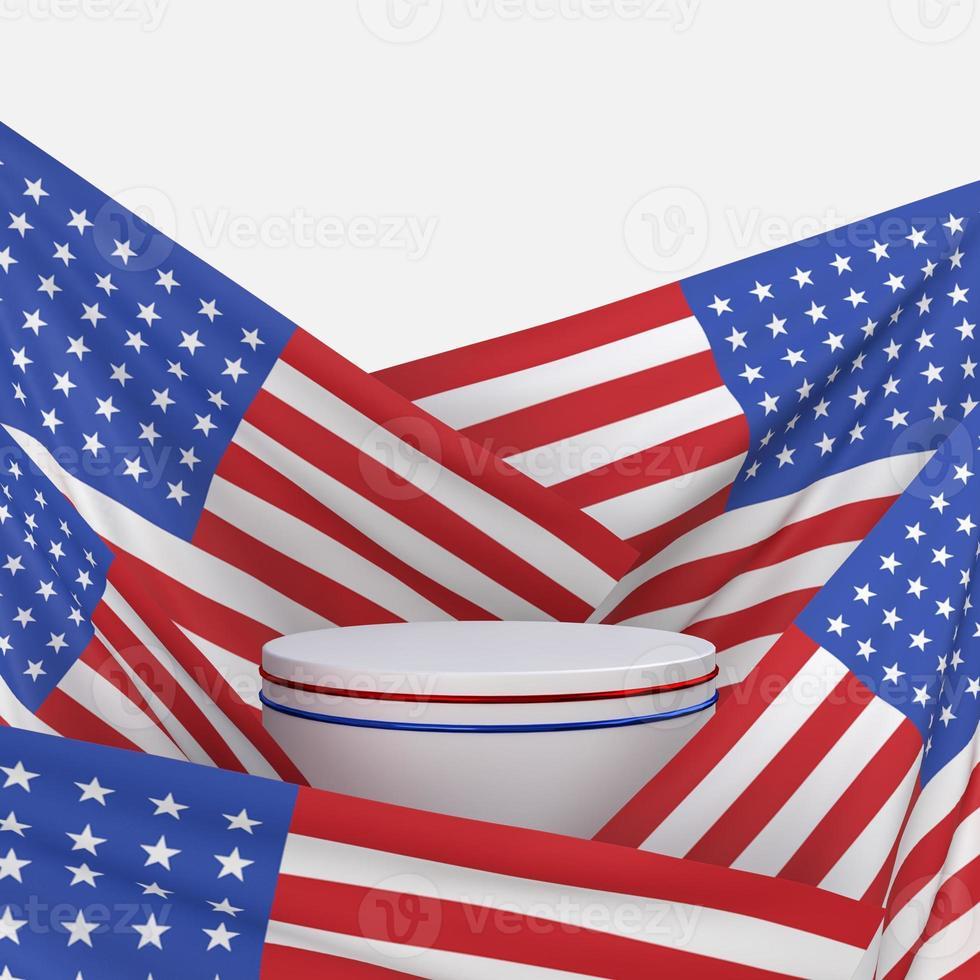 feliz 4 de julio día de la independencia de estados unidos con decorar y bandera americana foto