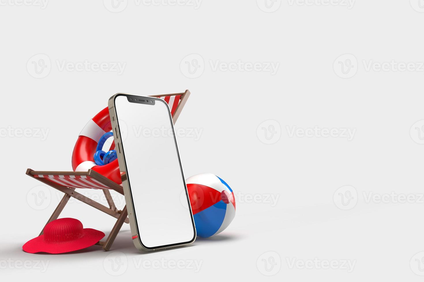 Smartphone with Decorative beach objects photo
