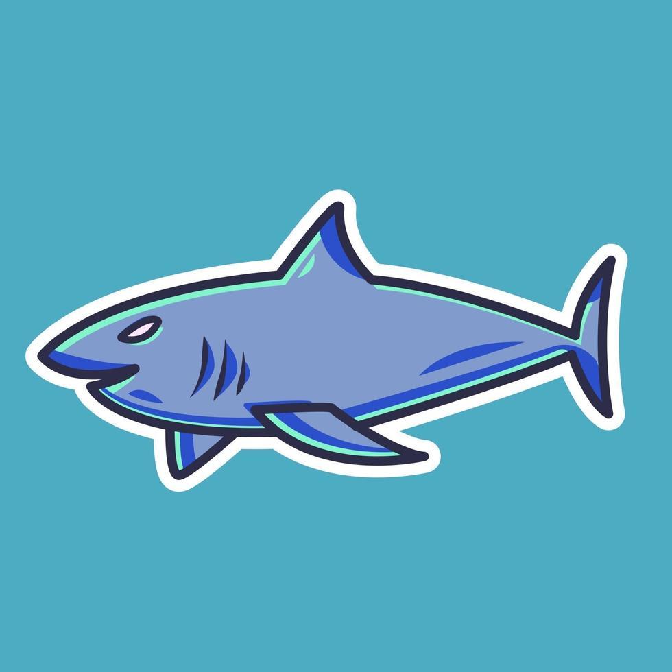 Shark cartoon sticker vector