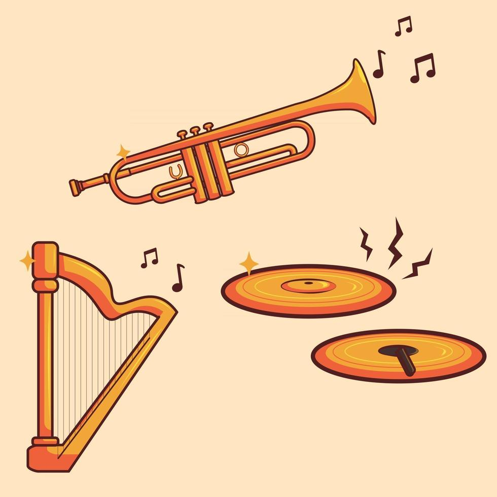 Vector Set Of Gold Music Instruments. Trumpet, Harp, And Cymbals Illustration