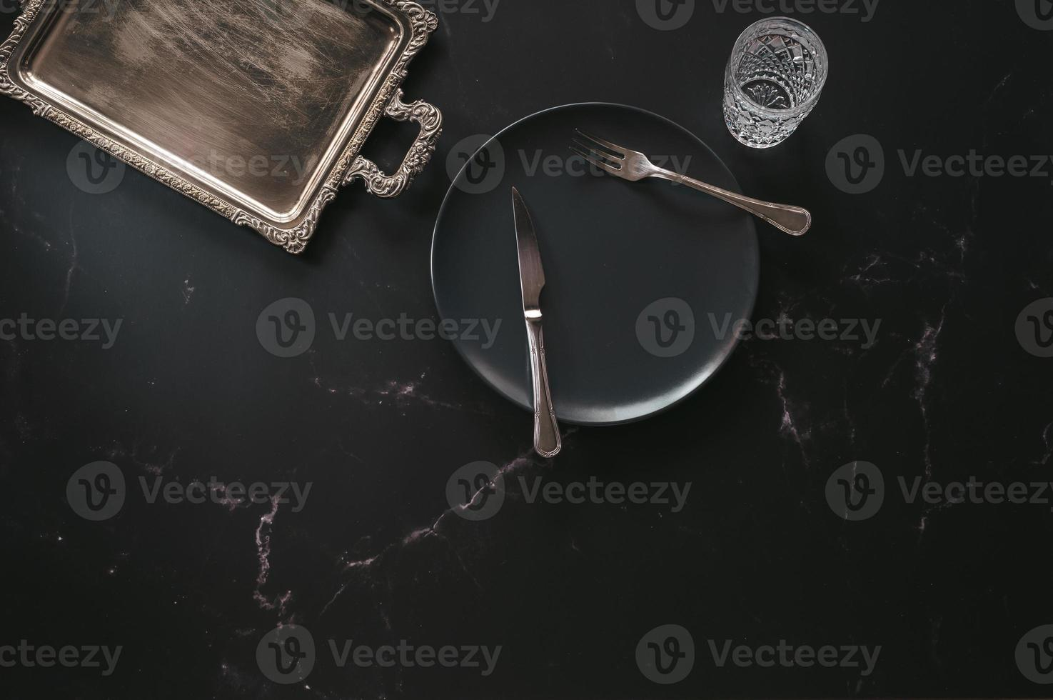 Flat lay of luxurious diner articles photo