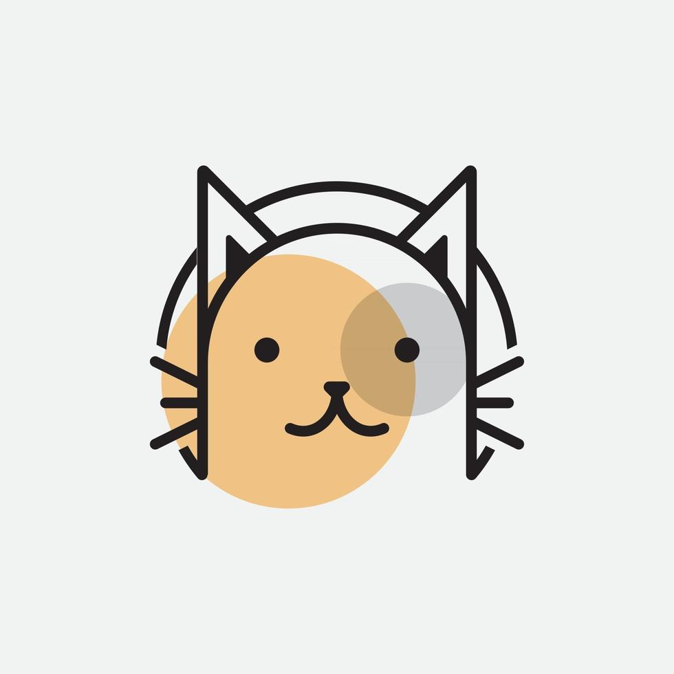 cute cat head cartoon logo cat head Good for cat care related products vector