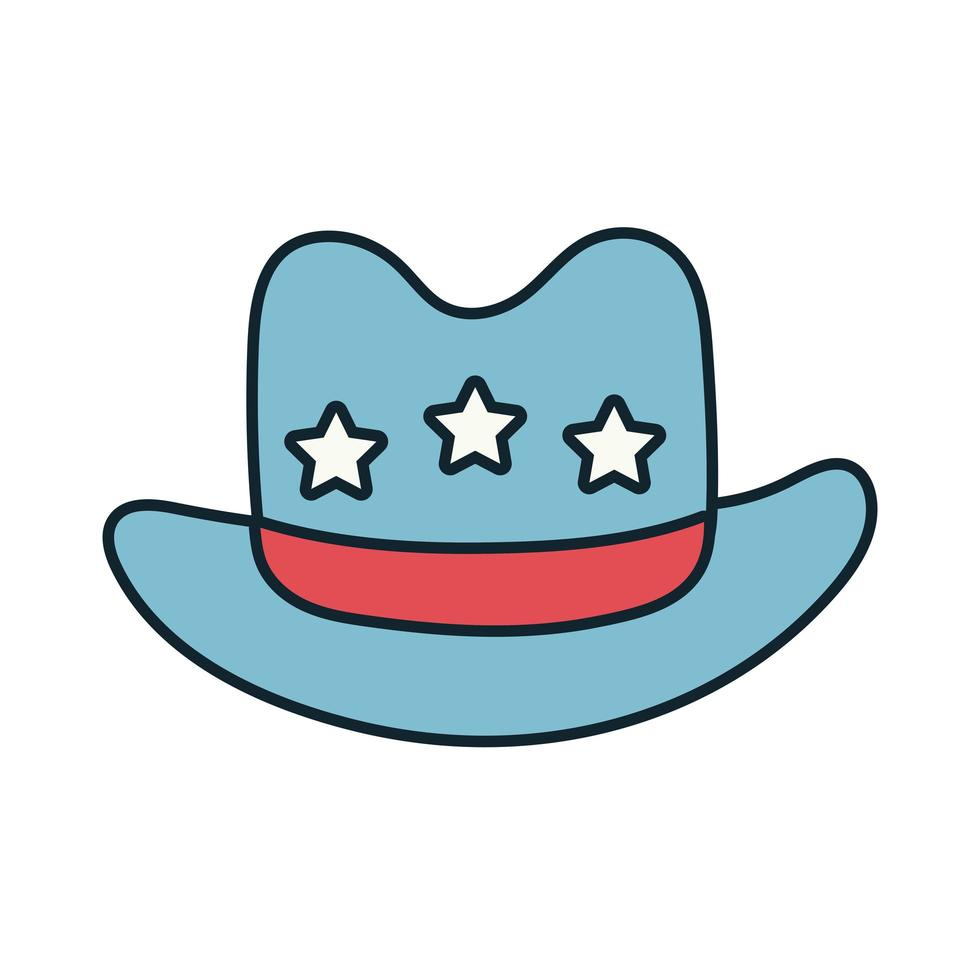 sheriff hat with stars line and fill style vector