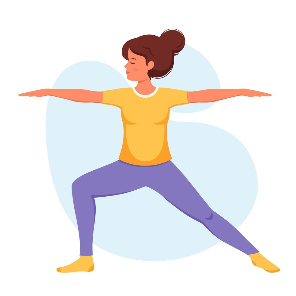 Woman practicing yoga Healthy lifestyle relax meditation vector