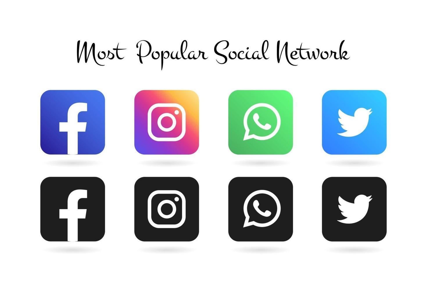 round button of 4 most popular social media logo vector
