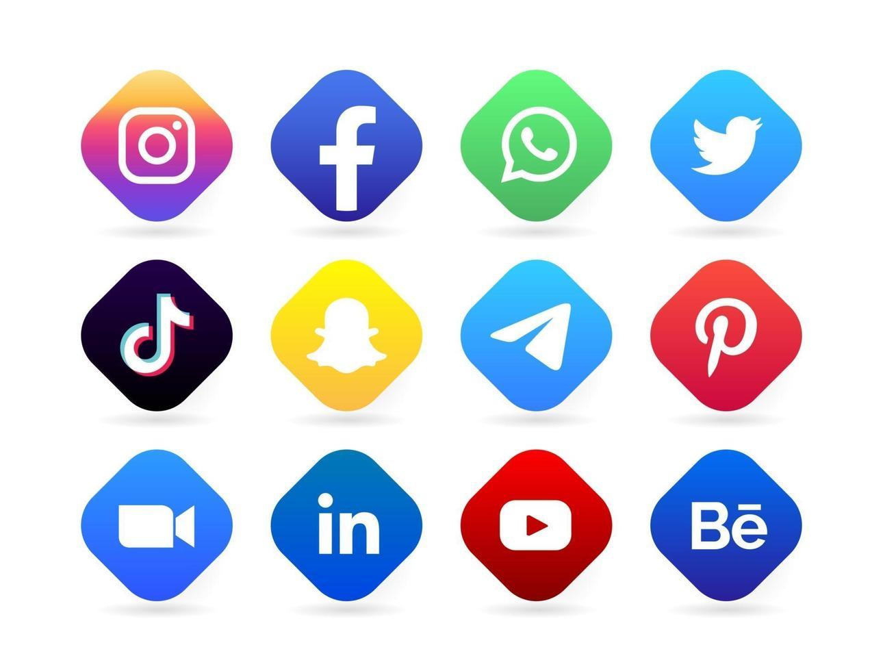 social media logo button vector