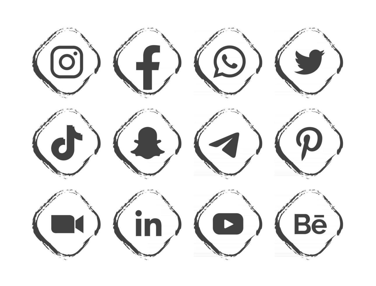 black social media logo with frame vector