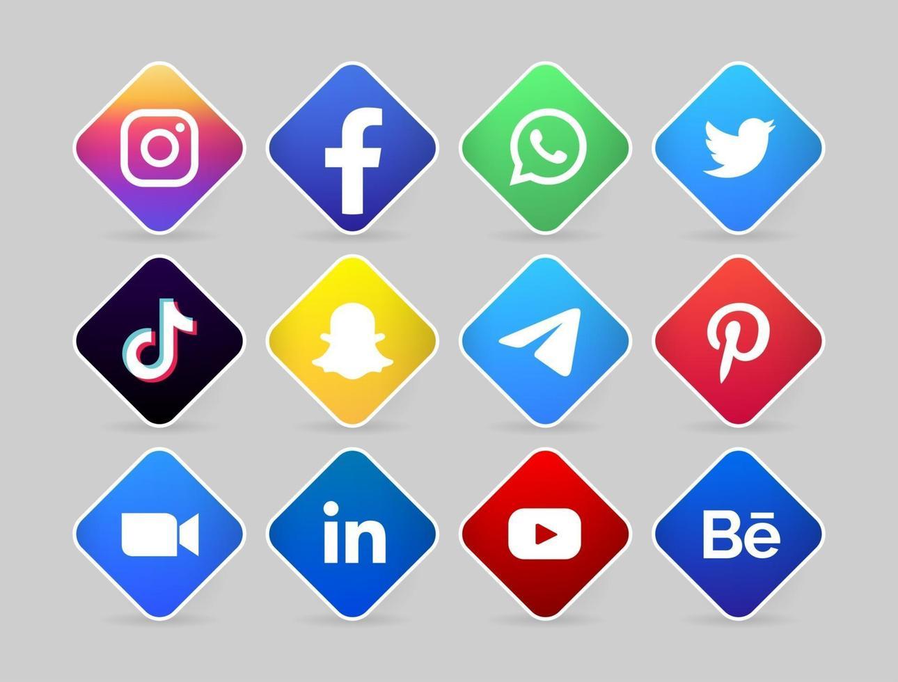social media logo button with line vector