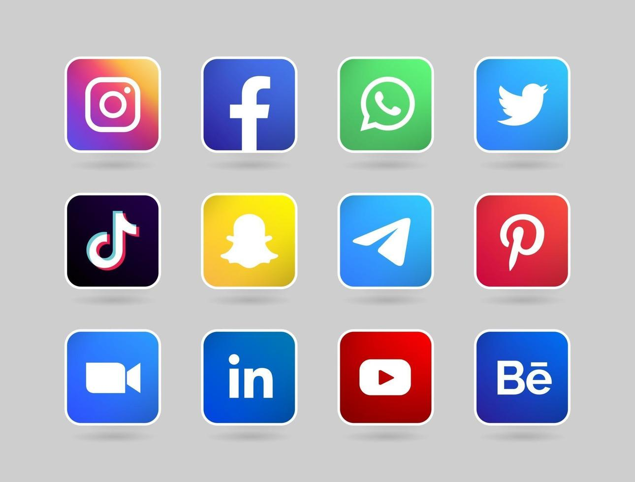 round social media button with line vector