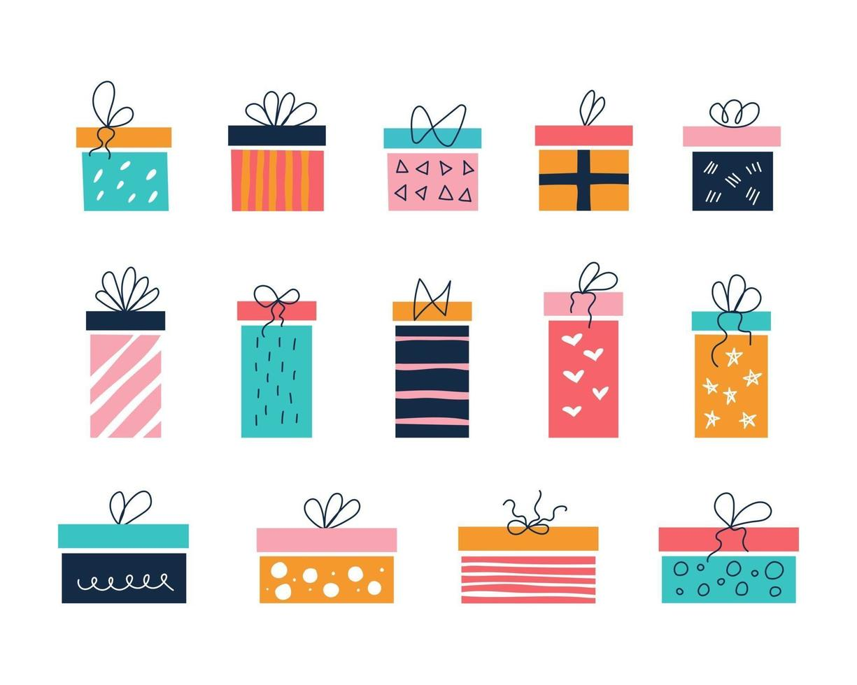 Vector set of colorful gift boxes of different sizes on a white background with bows in the style of flat doodles Childrens room decor posters postcards clothing and interior items