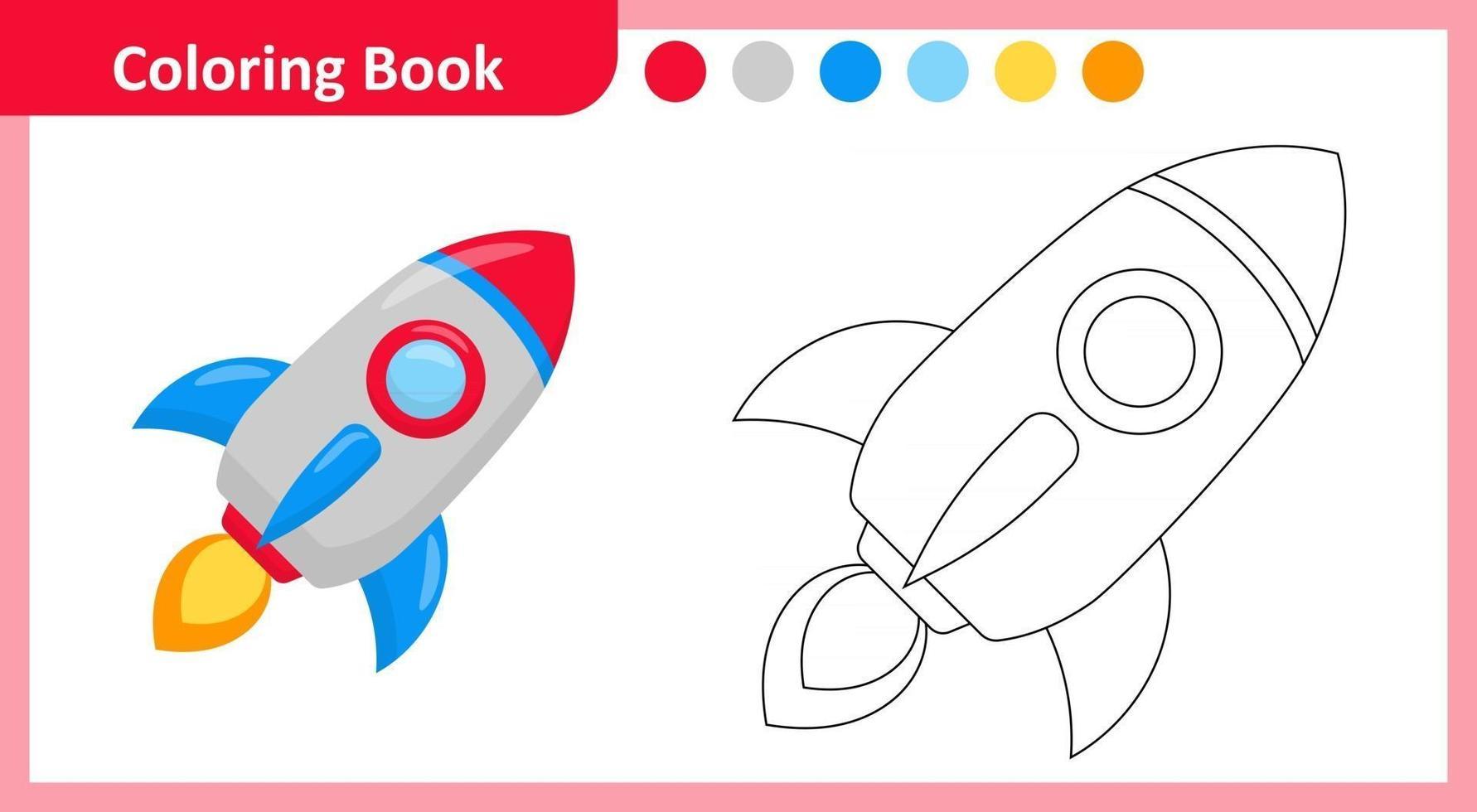 Coloring Book Rocket vector