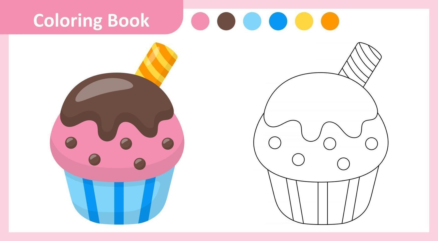 Coloring Book Cupcake vector