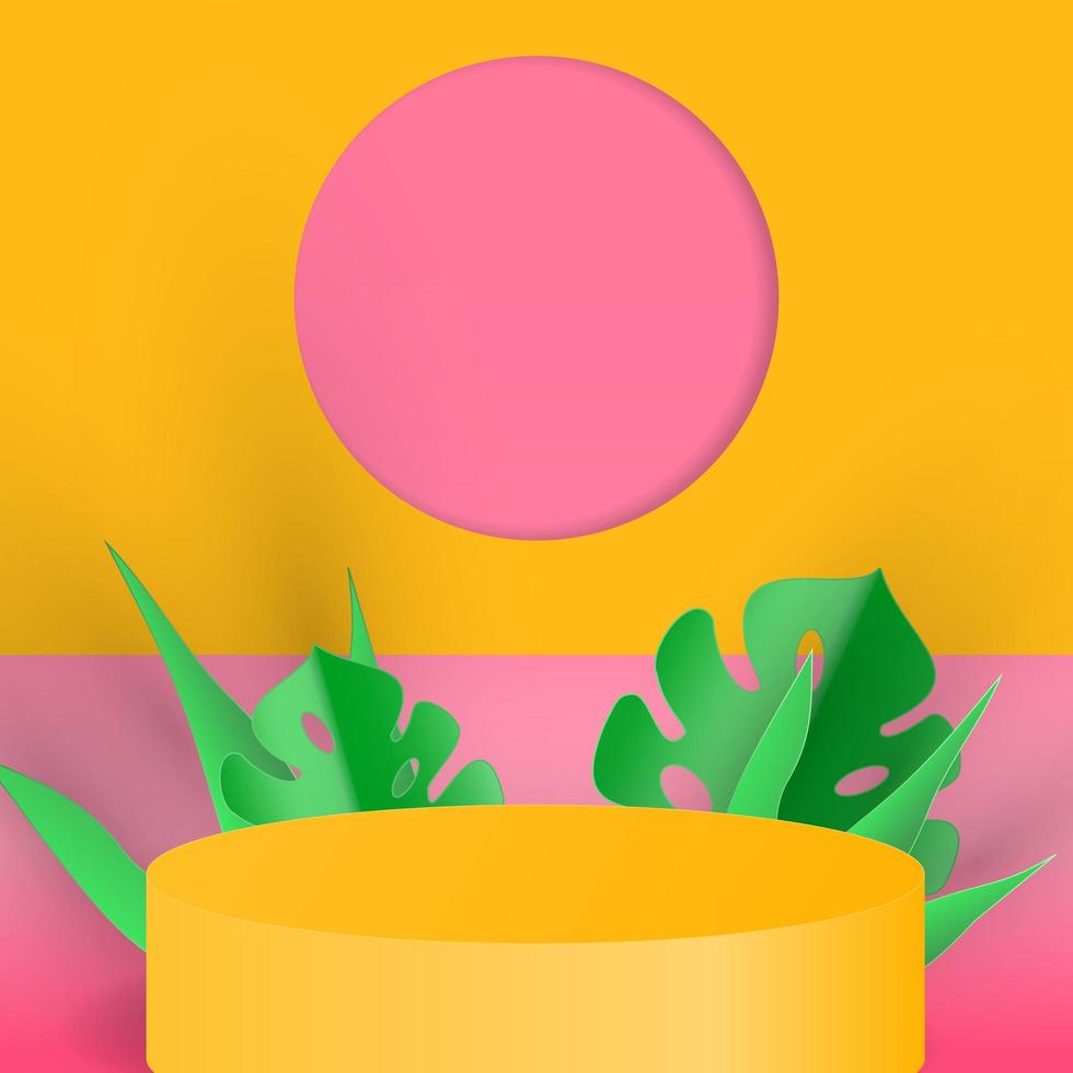 Minimal scene with cylinder podium background 3d vector illustration