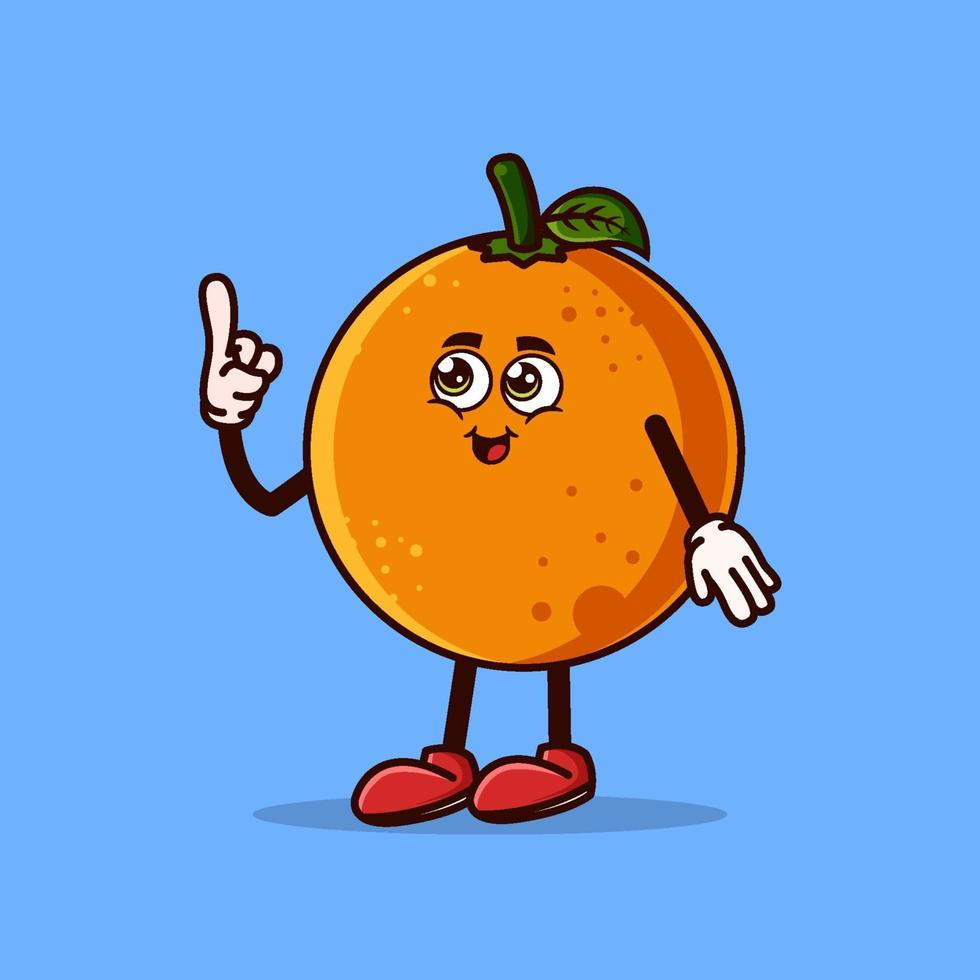 Cute Orange fruit character with happy face and Gesture pointing up. Fruit character icon concept isolated. Emoji Sticker. flat cartoon style Vector