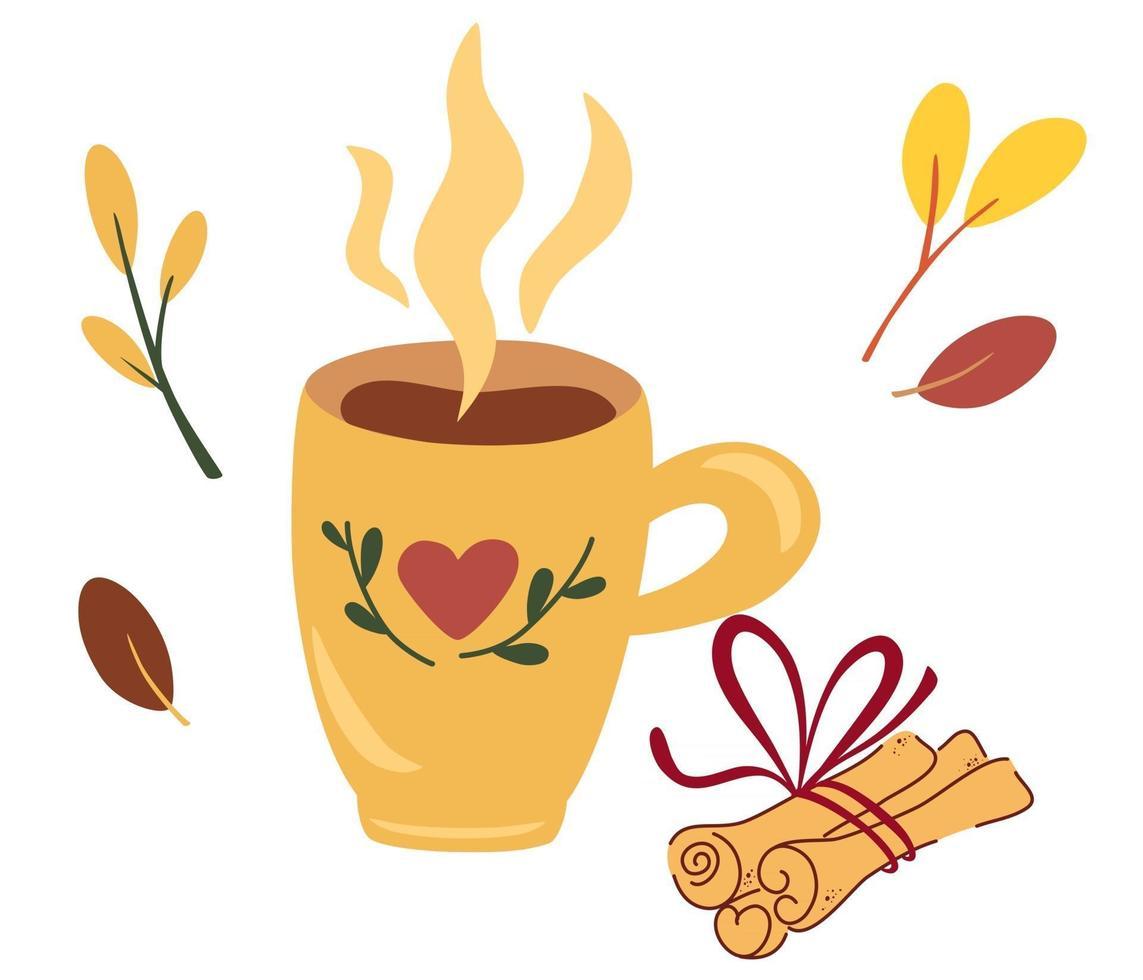 taza de té con canela concepto de estado de ánimo otoñal para preparar una bebida caliente café o cacao con canela ilustración vectorial en el estilo plano vector