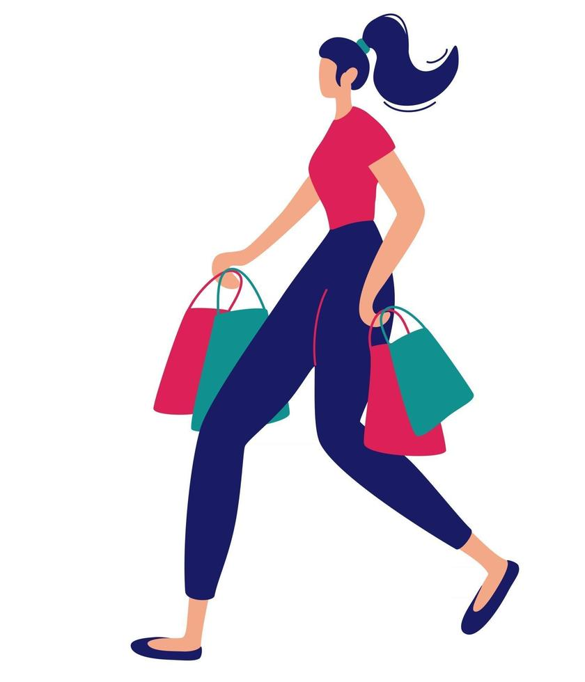 Woman with shopping bags Female character with packages in her hands on white background Sale advertising concept Vector flat illustration
