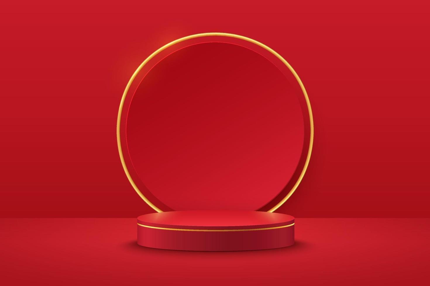 Modern red and gold cylinder pedestal podium. Red color minimal wall scene, Shiny golden circle backdrop. Vector rendering 3d shape, Product display presentation. Geometric platform. Abstract room.