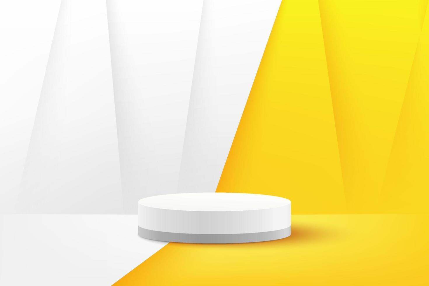 Modern white cylinder podium with white and yellow empty room background. Abstract vector rendering 3d shape for advertising product display with copy space. Pastel minimal scene studio room concept.